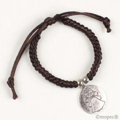 Pulsera trenzada marrón medalla Ángel de la Guarda ,min.4
