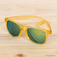 Gafas de sol semi-transparentes amarillas lente espejo