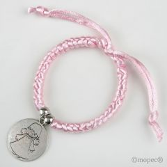 Pink twisted bracelet with guardian angel medal