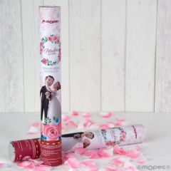 Cañón confeti pétalos rosa Pop&Fun caricia 38cm