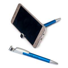 Bolígrafo-soporte móvil azul con borra-huellas pantalla