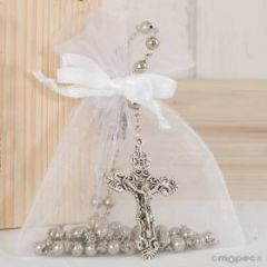 Silver rosary with trasparent bag and ribbon