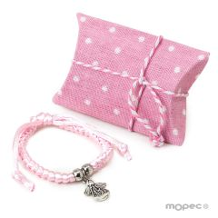 Pink bracelet with angel decoration in case
