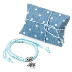 Blue bracelet with angel decoration in case