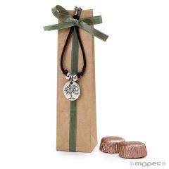 Pulsera con medalla árbol/life is a gift con 2 torinos