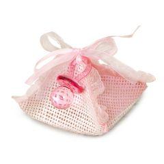 Estuche-pañuelo rosa con chupete 3peladillas choc.*