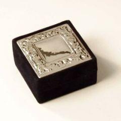 Velvet jewelry box sterling silver 925 6x6x3cm SALE