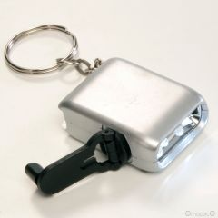 Llavero+linterna led con dinamo+caja regalo 3x4cm.