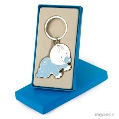 Llavero bebé Pit azul gateando con caja regalo azul