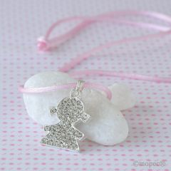 Pendant with strass boy and pink tape