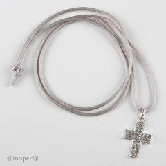 Colgante cruz strass con cinta gris
