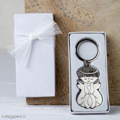 Llavero metálico Ángel sentado en caja blanca adornado