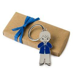 Llavero niño comunión chaqueta azul caja kraft adornada