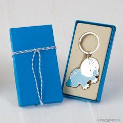 Llavero bebé Pit gateando con caja regalo azul adornado