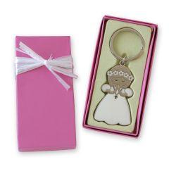 Llavero comunión niña en estuche regalo rosa adornado