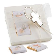 Llavero metal cruz en caja 2 napolitanas