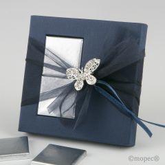 Broche mariposa strass en estuche azul 2 napolitanas