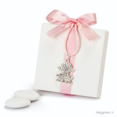 Caja blanca lazo rosa colgante strass niña 5peladillas choc.