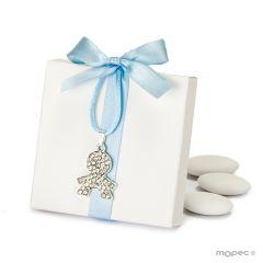 Caja blanca lazo azul colgante strass niño 5peladillas choc.