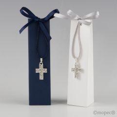 Colgante cruz en caja azul y blanca stda. 3 peladillas, min2