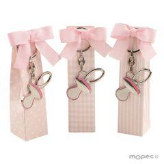 Caja topos, rayas y cuadros rosa llavero chupete 5pel, min.3