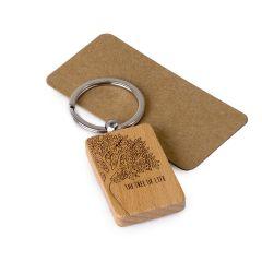 Porte-clés en bois rectangulaire The tree of life 9x3,2cm.