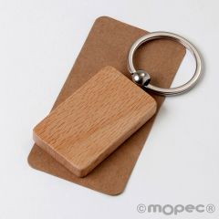 Customizable rectangular wooden key ring 3x5,2cm.