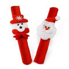 Bracciale feltro Babbo Natale/pupazzo di neve assort. 6x20cm