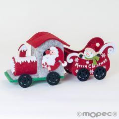 Tren de fieltro navideño, 26cm.