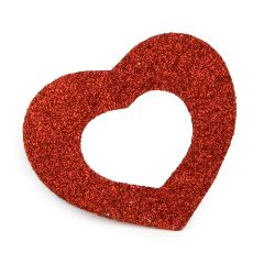 Glossy decorative heart, 8x6cm min.6. Available in white and red