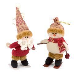 Esquiadores Papa Noel/m.nieve 22/17cm con colgante min.2