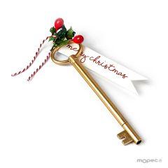 Evidenziatore chiave bigl. M. Christmas e agrifoglio 15cm