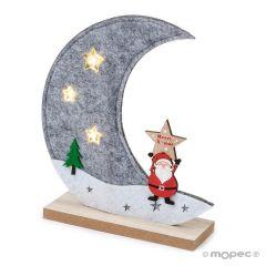 Felt moon 3LEDS with wooden base 17cm.