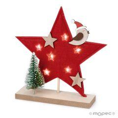 Felt star 20cm. with wooden base 6 LEDS