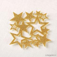 Posavasos fieltro purpurina estrellas dorado, min.6