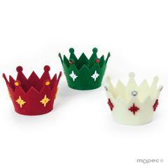 Christmas Felt crown baskets, 3 colors 11(Ø)x8cm. asstd,min.3