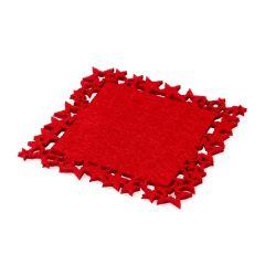 Posavasos fieltro rojo estrellas 10x10cm., min.6