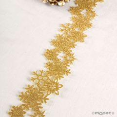 Decoración de fieltro purpurina dorada, largo 1metro