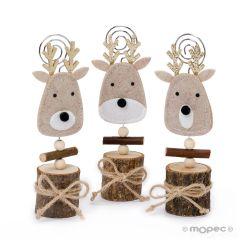 Porta-foto reno navideño con tronco natural 3surtido, min.3