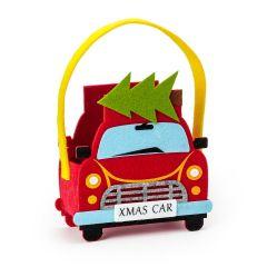 Panier feutre voiture avec sapin de Noël 16x25cm. (manches)
