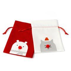 Red and white bear bag 17cm asstd.