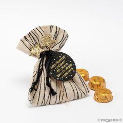 Bolsa algodón líneas negras Dulce Navidad 3bom. configurable