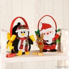 Cestino feltro B.Natale/pinguino con 4 ciccolatini