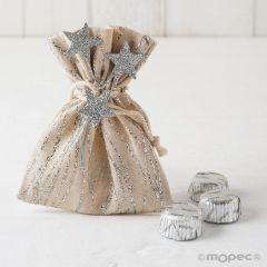 Sachet lignes d'argent, bouquet et 3 chocolats