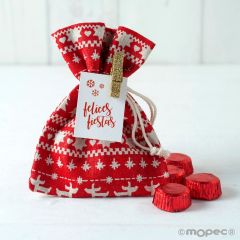 Christmas bag with 4 chocolates and peg+tag