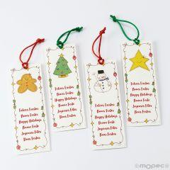 Segnalibro Natale Sweet Christmas con nastro 4assortiti