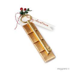 Rotulador llave dorada con 4 napolitanas adorno acebo 15cm.