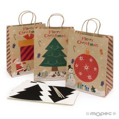 Christmas bag with scratch paper sticker and stick 35cm