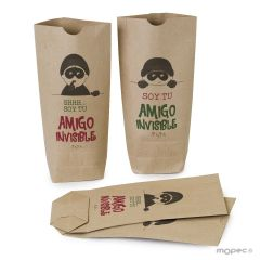 Bolsa de papel Kraft ©Pit&Pita® Amigo Invisible 12x22,5x5cm, disponible en varios idiomas