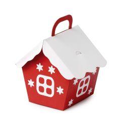 Casita papel navideña roja con tejado blanco 10x13cm. min.25